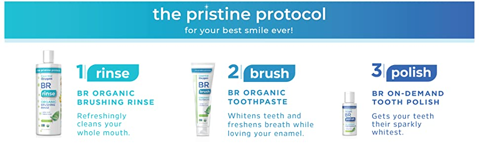 Essential Oxygen Certified BR Organic Brushing Rinse, All Natural Mouthwash  for Whiter Teeth,