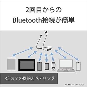 マルチペアリングに対応で8台までの機器とペアリング可能。よく使う機器と一度ペアリングしておけば、2回目からのBluetooth接続がかんたんになります。