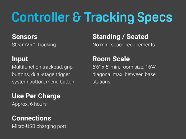 HTC VIVE controller and tracking specifications