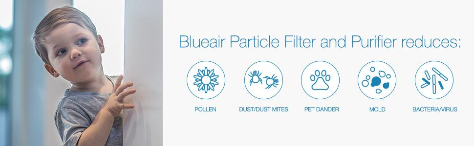 What does Blueair room air filter reduce? Pollen, dust, dust mites, dander, mold, bacteria, virus.
