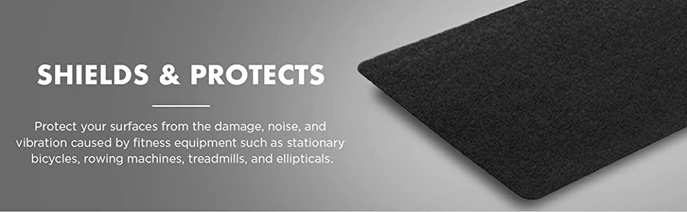 Fitness equipment mat shields and protects hard surfaces and floors