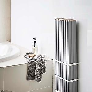 マグネットバスルーム折り畳み風呂蓋ホルダー ミスト ホワイト
