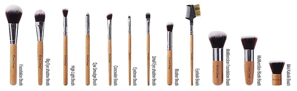 EmaxDesign 12 Pieces Makeup Brush Set Bamboo handle cosmetics brushes