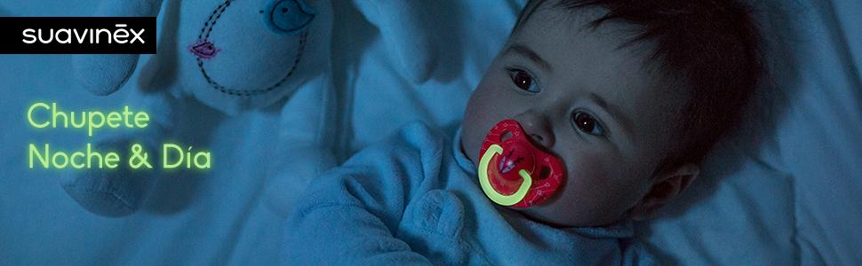 Suavinex - Pack 2 chupetes Nocturnos para bebés 6-18 meses. con anilla Luminiscente. Tetina anatómica de látex. Chupete de noche brilla en la ...