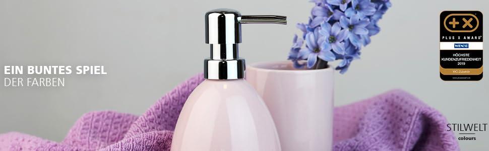 Betoverende zeepdispenser en -schalen tandenborstelbekers, cosmetische dozen, haken, planken en toiletgarnituren.