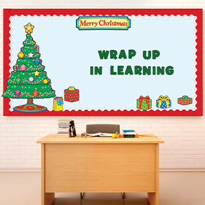 Amazon Com Carson Dellosa Christmas Mini Bulletin Board Set Merry Banner Tree Presents Candy Canes Ornaments Topper Star Cutouts 51 Pc Bullentin Office Products