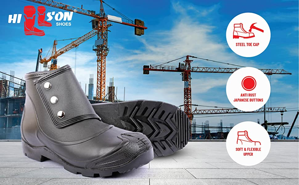 Hillson, safety shoe, steel toe shoes, no risk, button boot