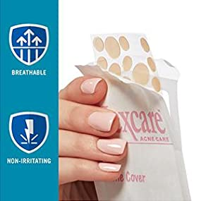 close up of Nexcare acne blemish covers in package, breathable, non-irritating