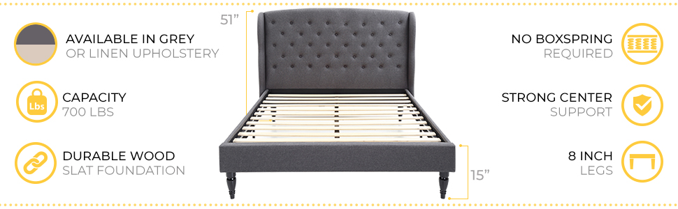 Coventry Upholstered Metal Platform Bed Frame with Headboard