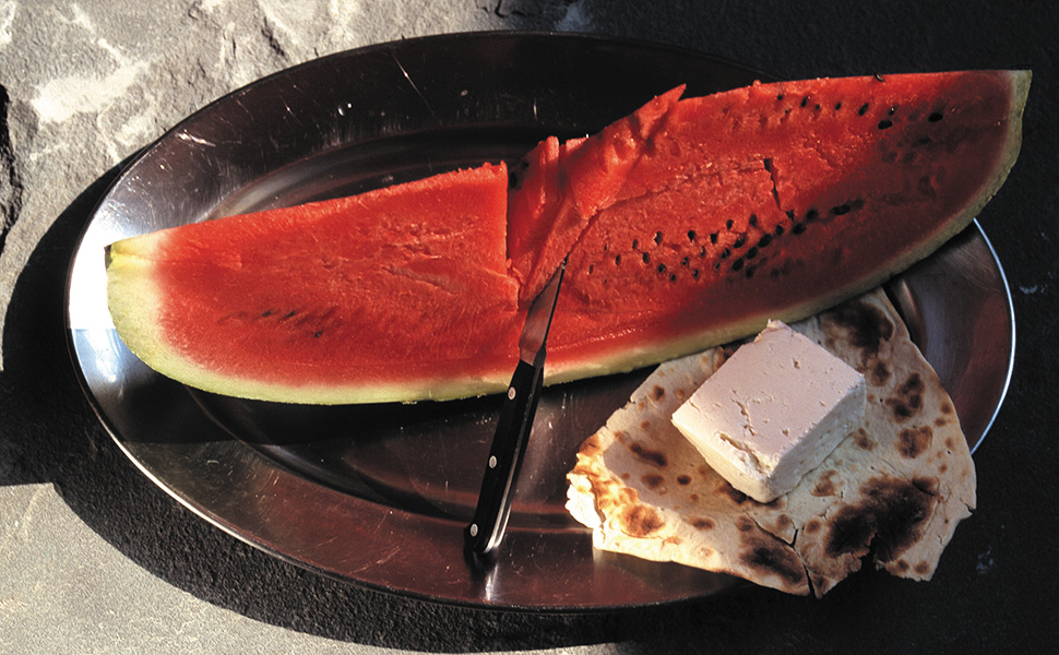 Watermelon, bread and cheese, Persian food,