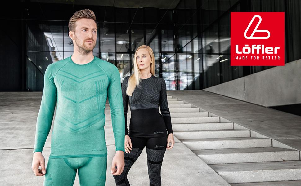 Löffler Transtex Warm Hybrid Unterwäsche Set Herren black//lime 2020 schwarz grün
