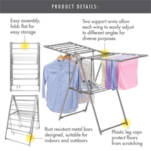 35 Metre '3-Fold Wing' Clothes Drying Airer Rack : Foldable and collapsible