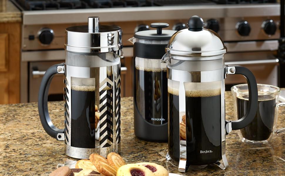 bonjour, coffee, coffee maker, french press, milk frother, tea pot, tea kettle, tea tools