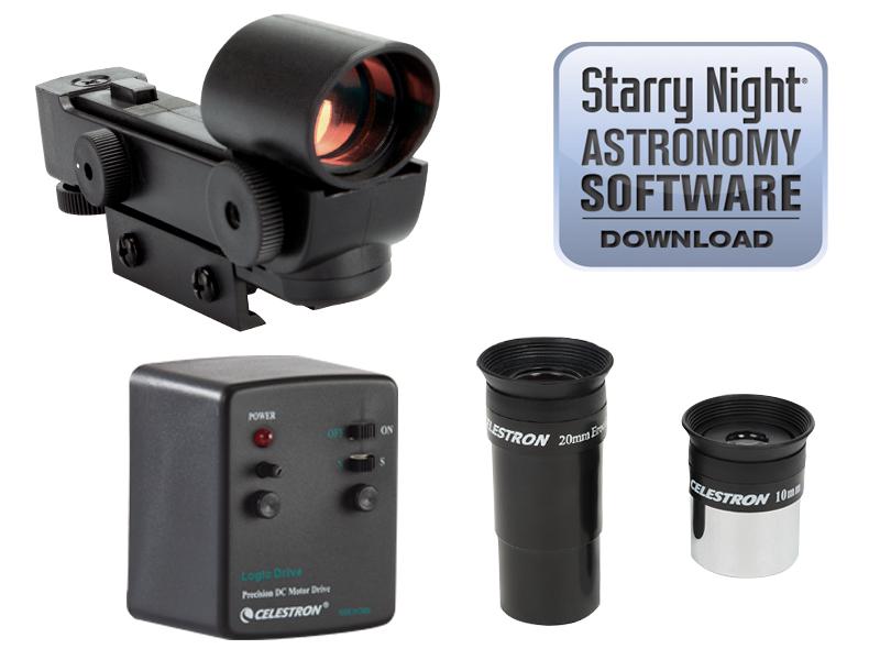 eyepieces, StarPointer red dot finderscope, motor drive