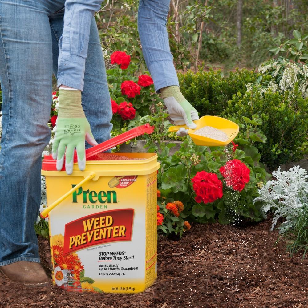 Stop weeds in flower beds - Preen Garden Weed Preventer Kill Weeds Control Weeds Roundup