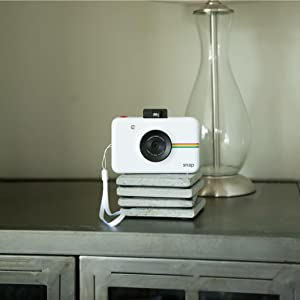 white camera on bricks