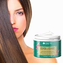 frizzy hair mask treatment with geranium & keratin nuray naturals straight hair