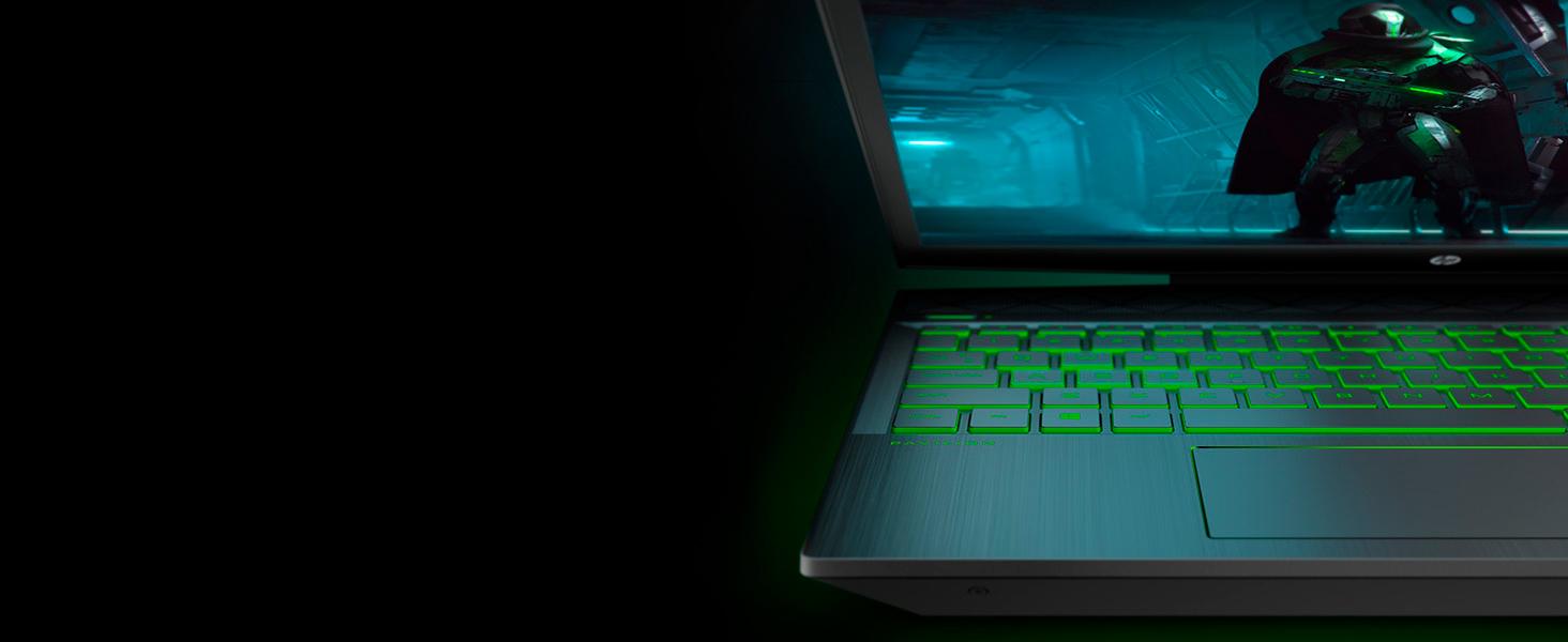 distinct LED lighting matching green accents