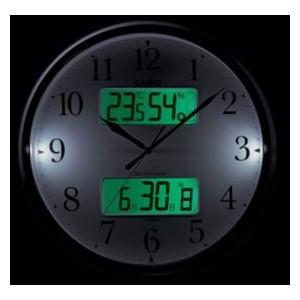 カシオ 温度・湿度計 夜見えライト 秒針停止機能付き 電波アナデジ掛時計 ITM-800NJ-5JF