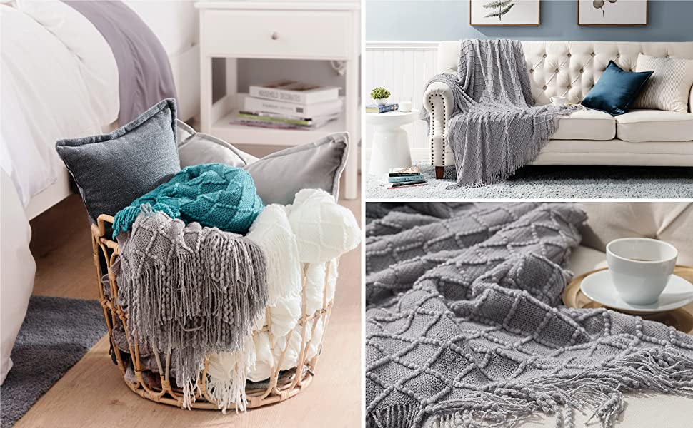 Bedsure Blanket for Couch, Knit Woven Blanket 2