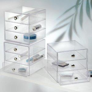 interdesign drawers schubladenbox 3 schubladen aufbewahrungsbox f r schminke transparent. Black Bedroom Furniture Sets. Home Design Ideas