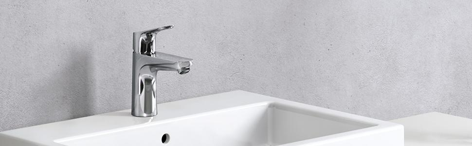 Hansgrohe Focus Modern 1 Handle 7 Inch Tall Bathroom Sink