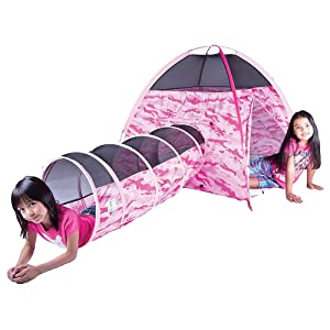 Pacific Play Tents 30470 Kids Pink Camo Dome Tent & Crawl Play Tunnel Combo  for Indoor / Outdoor Fun