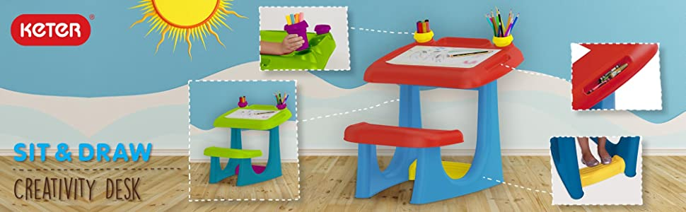 Keter kids sit and draw activity desk table for creativity and art