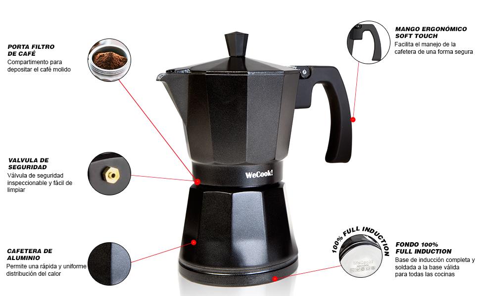 WECOOK Cafetera aluminio LUCCIA apta inducción, 1-3 tazas, Acero ...