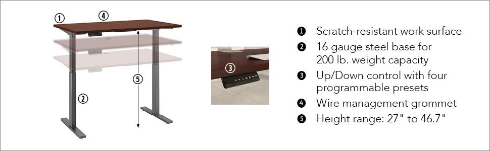 Move 60 Series,Bush Move 60,Height adjustable standing desk,height adjustable table,height adjust