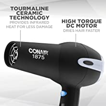 Conair 1875 Watt Ionic Ceramic Hair Dryer, Tourmaline Ceramic for gentle dry, high torque DC motor