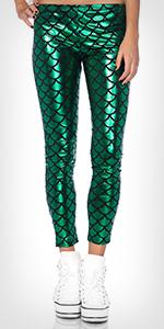 leggings, mermaid, metallic