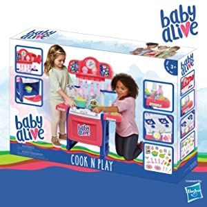 Amazon Com Baby Alive Doll Kitchen With 21 Assorted Play Pieces Interactive Stove And A Real Working Water Pump With Sink Toys Games