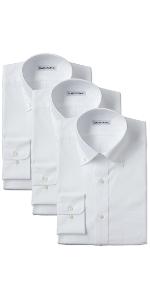 イージーケア 長袖白ボタンダウンワイシャツ3枚セット
