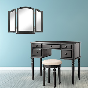 Solid Wood Legs for Home Dressing Table with Tri-Fold Necklace Hooked Mirror Brush Slots Cushioned Stool and Open Compartments Romatlink Vanity Makeup Set with 5 Drawers Black