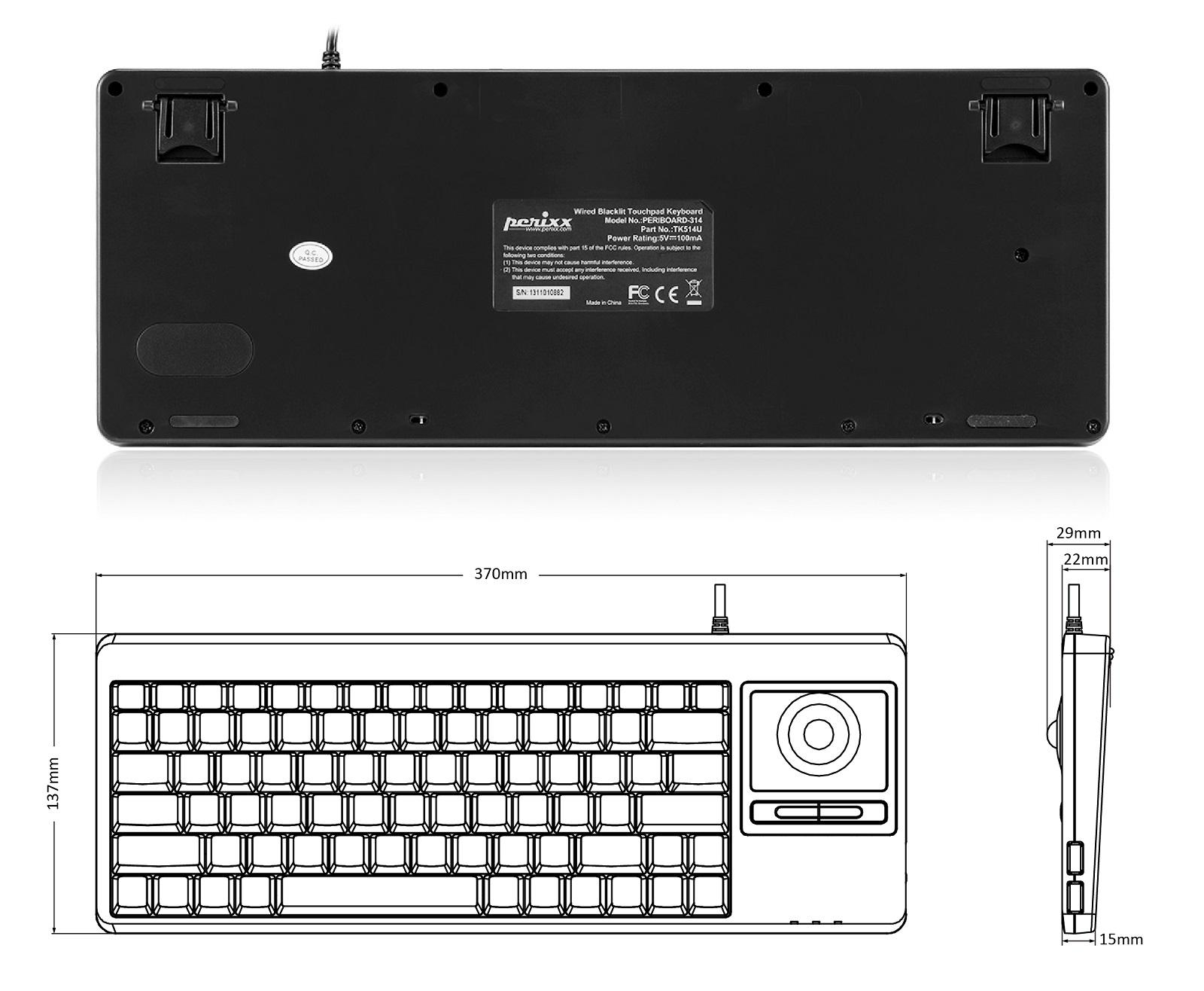 perixx periboard 514h plus wired trackball keyboard with 2 hubs built in optical. Black Bedroom Furniture Sets. Home Design Ideas
