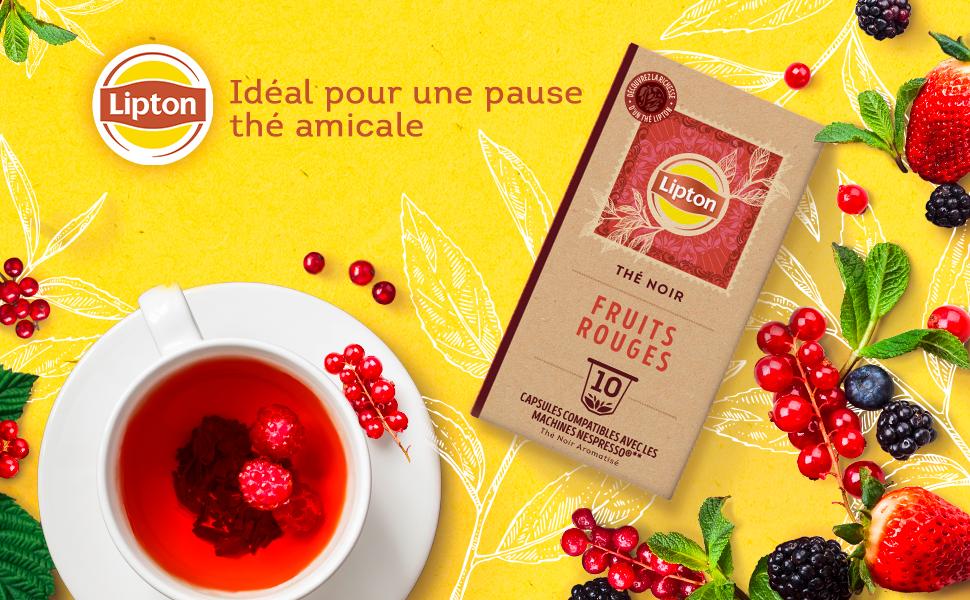 Lipton Thé Noir Fruits Rouges capsules, fraises, mûres, groseilles, détente, dégustation, arôme