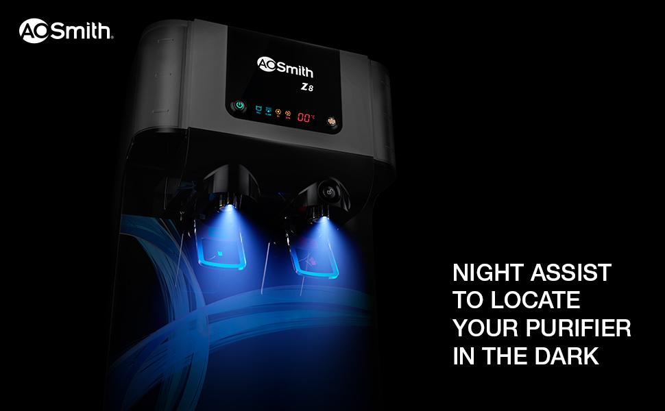AO Smith Z8 Water Purifier Water Treatment Night Assist Green RO