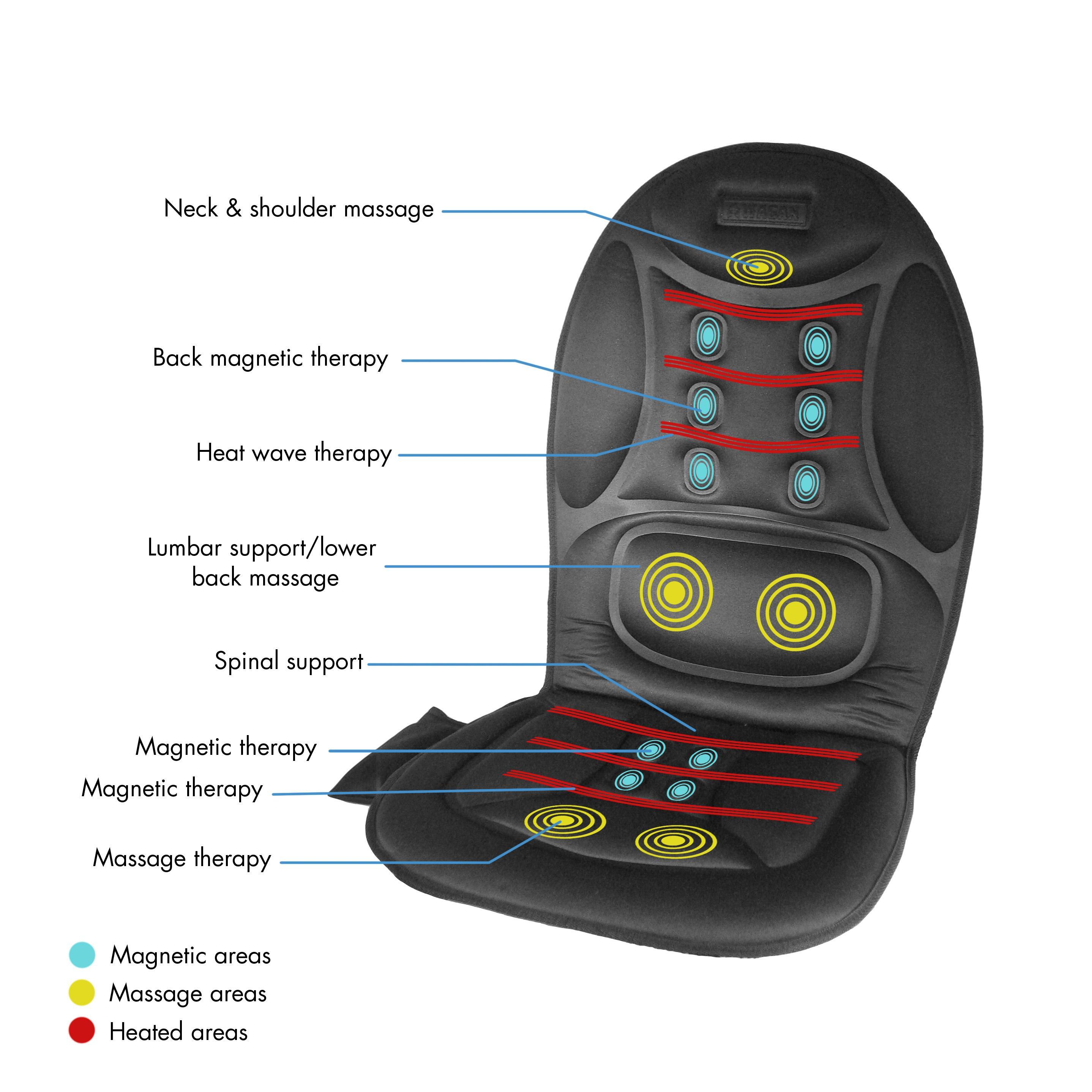 Wagan In9988 Black 12 Volt Ergo Comfort Rest Massage Magnetic