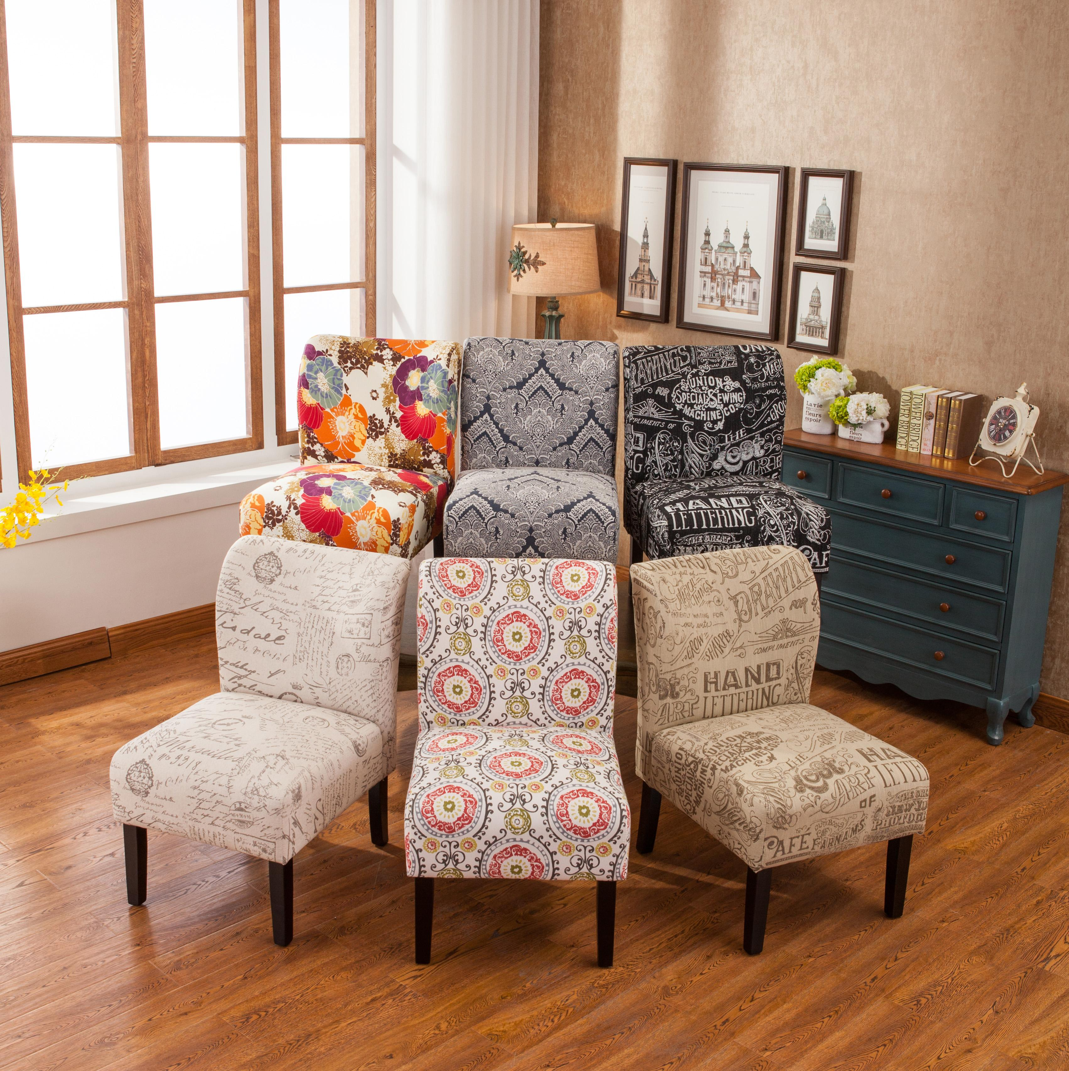 Roundhill Furniture Capa Print Fabric Armless Contemporary Accent Chair Floral Home