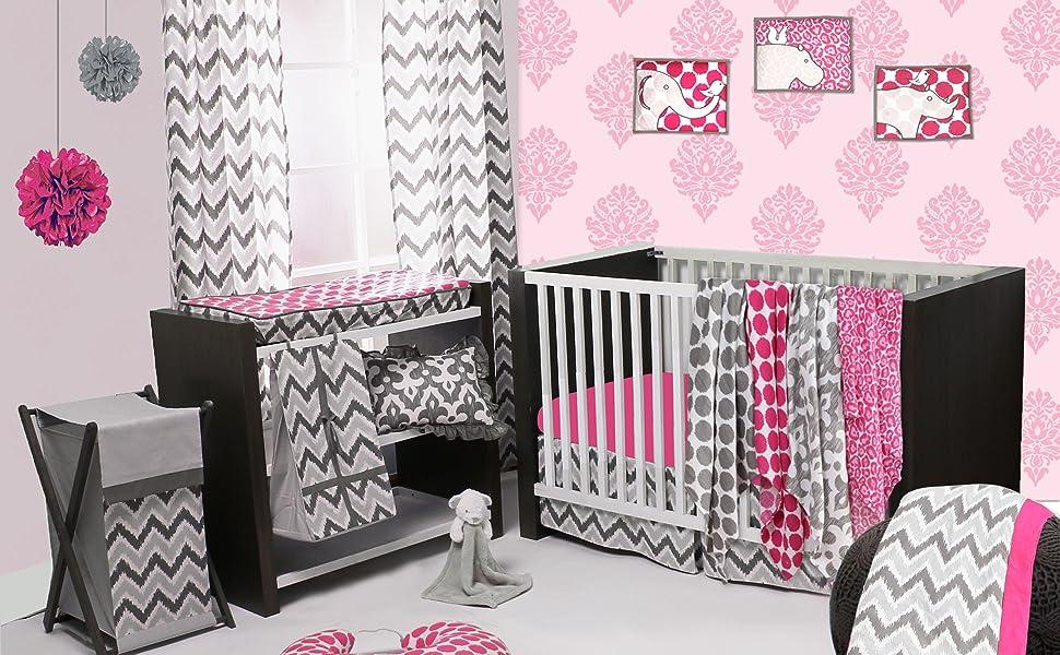 Bacati Ikat Pink/Grey Bedding Collection
