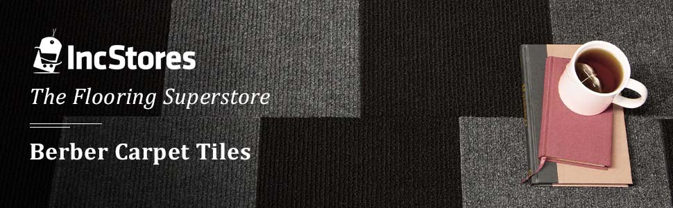 IncStores Berber Carpet Tiles 160 Tiles - 160 Sqft, Smoke