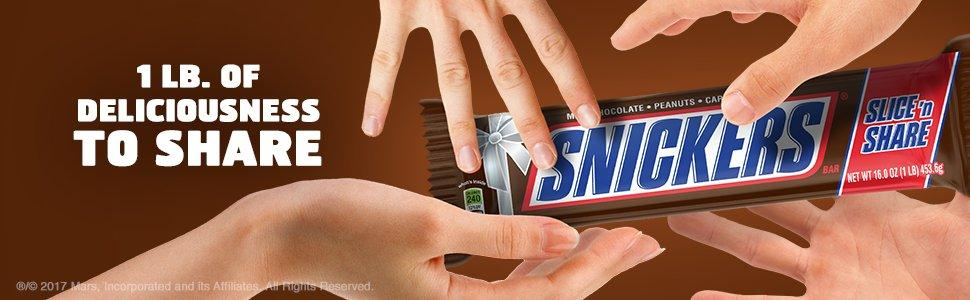 Slice and share a giant candy bar made with SNICKERS Chocolate.