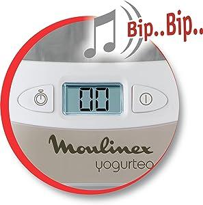 Moulinex Yogurteo Yogurtera, 13 W, 1.12 litros, 0 Decibelios, Plástico, Plateado