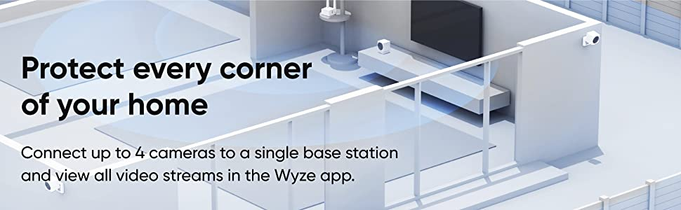 Connect up to 4 cameras to a single base station and view all video streams in the Wyze app.