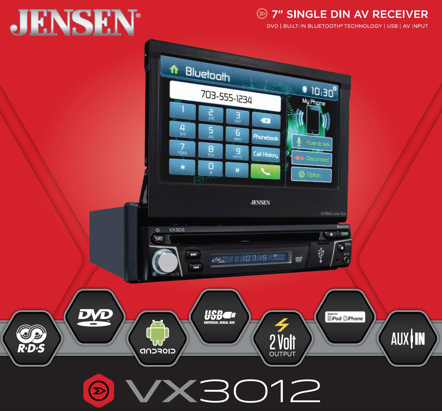 Jensen VX3012 1 DIN Multimedia Receiver, 7-Inch Touch