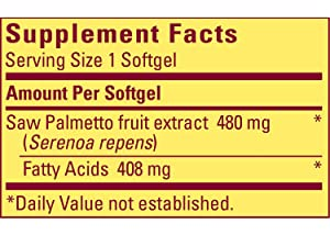 Nature Made Saw Palmetto Supplement Facts