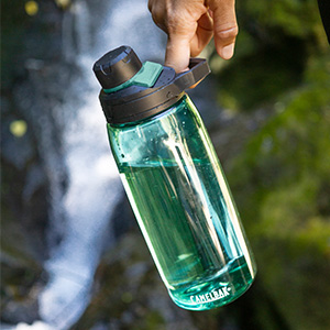 camelbak water bottle, recycled plastic water bottle, reusable water bottle. easy carry handle.