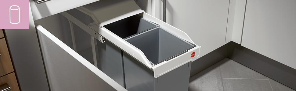 Hailo Multi Box duo L, Einbau Mülltrennungs System, 2 x 14 Liter, Einfache Montage, verfahrbarer Deckel, Made in Germany, 3659 001