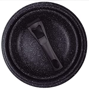 Set 2 sartenes Ø20+26cm aluminio prensado aptas inducción Click & cook black CON mango Click & cook